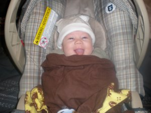 I mean look at that smile? This is when J was a couple of months old, still has that same smile=)