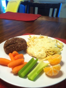 Vegetables with dinner: homemade fetticini