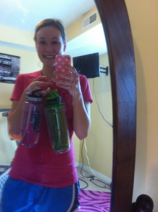 I don't know what it is, but when I run inside I get so thirsty. 1.5 bottles down