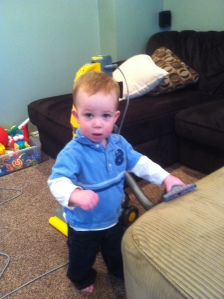 he helped me vacuum and do chores instead of TV haha