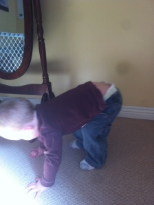 His version of planking, just bring that tooshie down a bit and it's pretty good=)