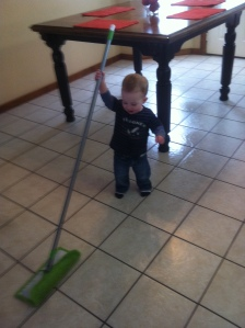 yesterday morning J helped me mop