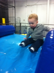 going down the slide into the foam pit