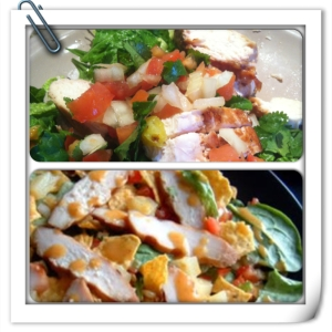 The top image is mine pre tortilla strips and dressing