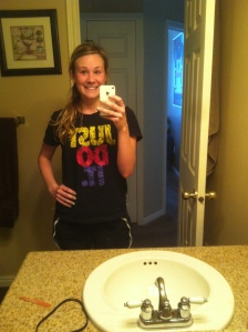 post run. yes I wore shorts and a t-shirt. I started with a jacket but got too hot, love the warmth!