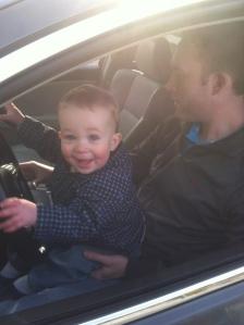 'helping' dad clean his car