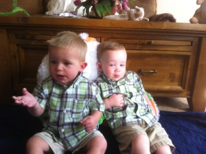 Easter bunny pic tradition. J is very relaxed and C just wants candy