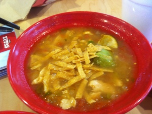 Tortilla Soup with lime and avacado