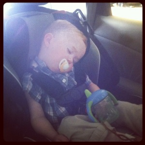 On the ride home from church, wears him out every time!
