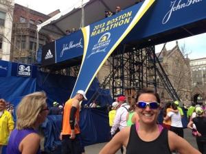 Kelli at the finish of Boston