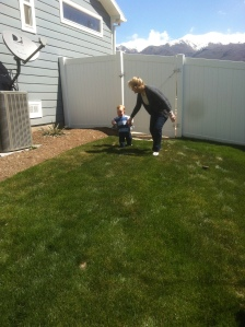 My mom and J racing down the hill, I can't wait for when he wants to run with me!
