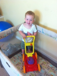 so happy to have his new lawn mower to play with