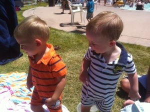 Cousin matching rompers haha