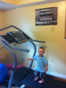 J thought he'd run on the treadmill since mom can't, thanks bud.