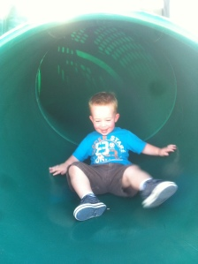 He loves the slide now